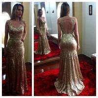 E0380 Elegant spagetti straps overlay golden sweetheart sequin prom dresses