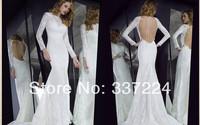 2014 Custom Made New Design Bridal Gown Long Sleeve Mermaid Lace Wedding