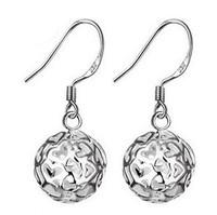 1 s925 cutout delicate ball earrings earring female heart ball earrings accessories