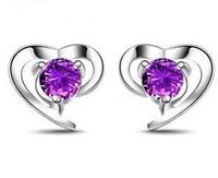 Girlfriend gift gifts 925 pure silver earring platinum amethyst stud earring