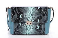 2014 New High Quality Cowhide Genuine Leather Handbag Womens Fashion Snake Print Barrel Shoulder Satchel Bag