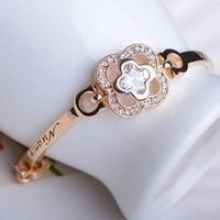 Accessories luxury 18k four leaf grass crystal bracelet female 1631