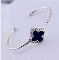 New arrival personalized small four leaf grass letter rhinestone diamond bangles fashion all-match 1630