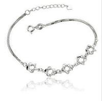 S925 pure silver bracelet 1 rose bracelet silver jewelry