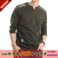 2014 men's clothing long-sleeve V-neck loose casual t-shirt 100% cotton t-shirt 002
