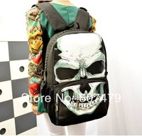 2014 New Arrival Korean Style Girl Large Zipper Shoulders Bags Unisex Skull Mischief Cartoon Pattern Couple Student's Backpacks