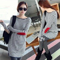 Maternity clothing spring fashion 2014 loose patch t-shirt loose long sleeve length top dress for Pregnant woman TP56