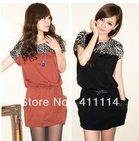 2014 new hot fashion women clothing cotton cute casual high street sheath active sexy dress Leopard Diamond pocket WA