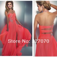 Fress Shipping Halter Beaded Coral Color Slit Style Long Open Back Long Sexy Prom Dresses Designers Latest Fashion 2014