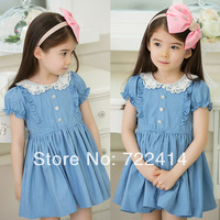 New 2014  spring summer kids girls casual Doll collar princess lace dresses girl denim short sleeve dress children clothing