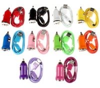 10pcs/lot Car Charger+Micro USB Cable for Samsung Galaxy S4 i9500 SIV S3 i9300 SIII 10 color for choose