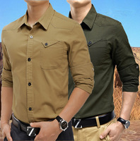 2014 new fashion long sleeve military style shirt for men hot casual cotton men's shirts M/L/XL/XXL/3XL