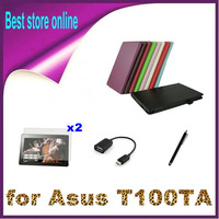 OTG Cable + Stylus Pen + 2xScreen Protector + 10.1 inch Litch Stand PU Leather Case Cover for Asus Transformer Book T100TA T100
