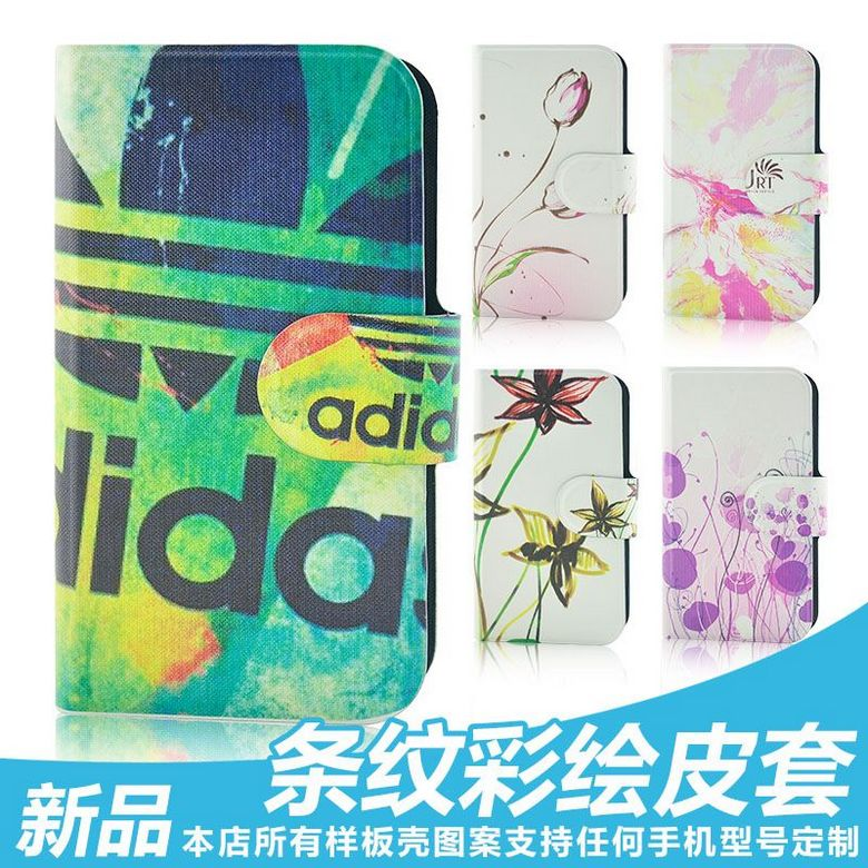 In stock colorful graffiti flower Red lip grid camouflage leather flip case cover for Samsung GALAXY SII DUO i929(China (Mainland))