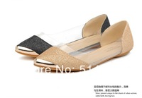2014 New hot selling fashion glitter pointed shoes Transparent pointed flat shoes wedding sandal 2color #619-T24