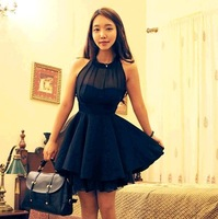 2014 summer new Korean women dress girls irregular sim sleeveless chiffon sexy backless solid color  vestidos lady vintage dress