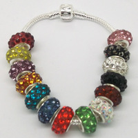 wholesale free shipping 50pc 15*5mm  big  hole Crystal Rhinestone Shamballa Beads fit European bracelet charm Grade BB B001