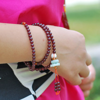 Purple teeth black garnet bracelet natural garnet multi-layer bracelets multi-circle fozhu 108 Women
