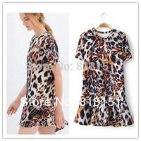(Free Shipping) 2014 Girl's Personality leopard  Pattern Mermaid Dress   Women's Ladie's evening dress