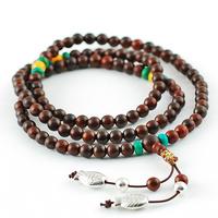 Natural lobular red sandalwood bracelets turquoise beeswax accessories 108 beads bracelet