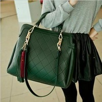 new 2014 desigual women messenger bags leather handbags plaid bags casual vintage bag one shoulder tassel handbag WM149