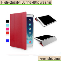 High Quality Three Fold Crazy Horse Pattern Leather Protective Cover For iPad Air iPad 5 Free Shipping DHL UPS CPAM HKPAM EWF-3