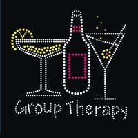 Hot fix rhinestone/iron on crystal heat transfer - Group Therapy for t shirt