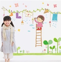 Clothing girl cartoon wall stickers baby child real sticker decoration