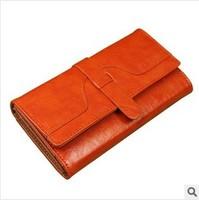 wallets 2014 New Fashion Oil wax  women's wallets Desiger brand leather lady purse Classic long design wallets  4 colors choose