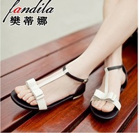 2014 summer sweet bow open toe flat leather sandals flat heel shoes student women's