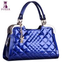 Foxer  2014 women's cowhide handbag dimond plaid handbag sewing thread women's bags  totes