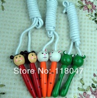 Cartoon wooden jump rope Children rope skipping colourful skip promotional gifts free shipping