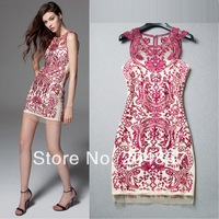 New arrival 2014 spring and summer organza lace embroidered three-dimensional cutout dress evening dress party dress