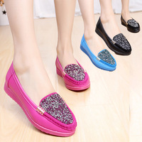 Spring single shoes comfortable flat female flat heel rhinestone gommini loafers maternity black work shoes