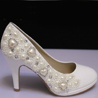 2014 NEW Prom High Heels Pearl Rhinestone White Women Pumps Wedding Shoes Pumps Basic Ladies Shoes for Weddings Free Shipping