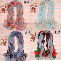 2014 Fashion Women Chiffon Scarf Autumn Summer Warm Silk Scarf Wrap Shawl Scarves 4 styles