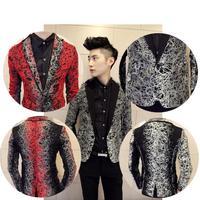 Men's Gradient Color Rock Punk Casual Dress Skinny Stylish Suit Blazer Jackets