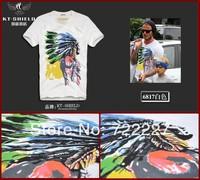 New 2014 Men's T Shirt Print Sewing Short Sleeve Cotton T-shirts Male Quality Fashion Brand Design Slim Tshirt For Men TT6817XX