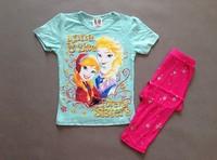 Free shipping kids girls Frozen anna and elsa short sleeved top pant sleepingwear  pajamas pyjamas 2 designs