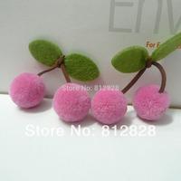 30pcs 25mm Diameter Pink Pom Pom Ball Cherries For Carfts Supplies