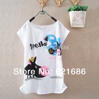 2014 summer new arrival women's clothing college teenage girls students cartoon short sleeve t-shirts 892
