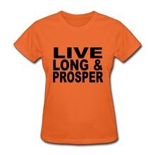 Lady Tshirt PreCotton Live long Prosper tshirt design Custom Tshirts for Woman Top Brand(China (Mainland))