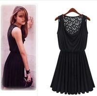 2014 Sexy MINI Dress Club Evening Black Sleeveless Dress Sexy Back Hollow Lace Vest Dress Elastic Pleated Dress S~L