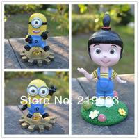 sway swing Despicable Me 3D Eye Big  Minions Figure car Decoration 14cm  Free Shipping 3 pcs / set