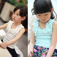 New summer 2014 children's clothing 100% cotton kids clothes baby girls all-match top sleeveless lace vest t-shirt size 100-150