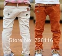 (5 pieces/lot) Children boy pure color cotton casual pants button decoration  boy Bai Sejie fashion trousers boy jeans trousers