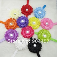 Children Girls Headwear 12 Color Flower WIth Stretch Headband Baby Headdress Kids Fashion Hair Ornament Free Shipping 10 pcs