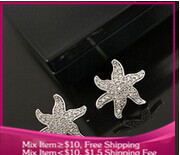 B297 Fashion starfish Imitation diamond Women stud earrings for jewelry free shipping