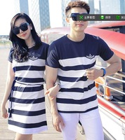 Free Shipping new 2014 spring summer men women stripe navy fashion  lovers short-sleeve T-shirt lovers clothes  XX043