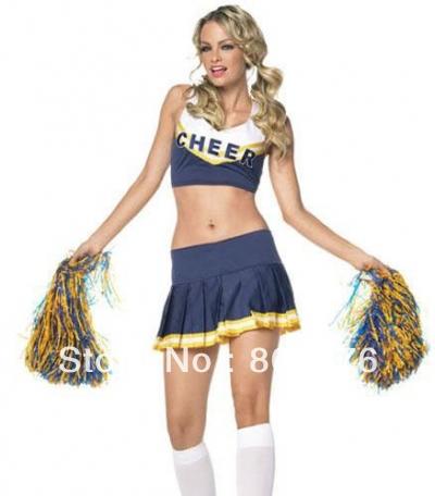 Free shipping 8136 sexy fancy dress blue cheerleader costume(China (Mainland))